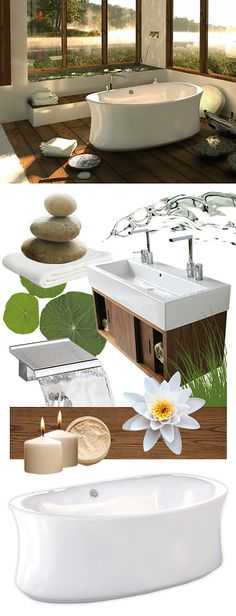 Zen Style - Ambrosia Freestanding Bathtub. (Cozy & comfortable ambiance - Simple and relaxing univers, no frills - Colors inspired by nature - Clean design and forms - Wood predominantly for its warmth - Plants & small waterfalls for a representation of nature indoors - Candles & Incense holder) Bathroom Renovations, Bathroom Ideas, Bathrooms, Zen Style, Small Waterfall, Outdoor Furniture Sets, Outdoor Decor, Bath Design, Clean Design