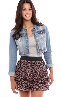 Deb Shops Double Tiered Ditsy Floral Print Chiffon Mini Skirt $15.00
