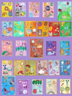 printable pdf - Rabbi Shalom hebrew alphabet - print of original paintings from an i-device application- about 16.5 x23