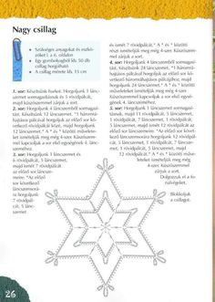 "Photo from album ""Horgolt csillagok"" on Yandex. Crochet Snowflake Pattern, Crochet Stars, Christmas Crochet Patterns, Crochet Snowflakes, Crochet Christmas, Christmas Time, Christmas Crafts, Christmas Decorations, Christmas Ornaments"