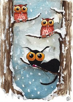 ACEO Print Folk Art animal illustration Stressie Cat bird two owls winter snow  #IllustrationArt