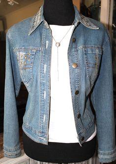 Vera Wang Blue Faded Denim Jean Jacket Women Small  #VeraWang #JeanJacket