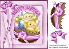 Little yellow chicks in a basket of easter eggs 8x8 on Craftsuprint - Add To Basket!