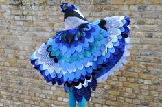 Blue Jay Bird Costume Cape / Bird Wings / Owl por AtelierSpatz
