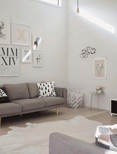 diseño de interiores Ideas sofá cuadros grises en la pared