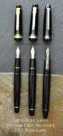 Sailor 1911 Black Luster Fountain Pen With Two Sailor Pro Gear II Pens