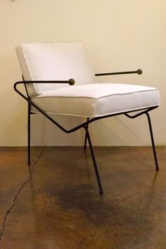 Dan Johnson; Enameled Metal and Brass Lounge Chair for Pacific Iron, 1950s.