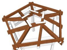 I've let a few weeks slip by in this post series and some of you may have forgotten about it. I began by considering gazebo structural desig. Building Structure, Building A House, Outdoor Projects, Wood Projects, Gazebo Roof, Gazebos, Eco Buildings, Roof Trusses, Geodesic Dome