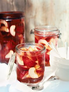 White Peaches in Pink Champagne Jelly (I pinned this because it looks so beautiful, but maybe I'd change the recipe a bit..?)