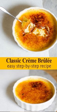 Perfect Classic Creme Brulee (easy photo recipe) - Al's Menü - Dessert Fancy Desserts, Köstliche Desserts, Spanish Desserts, French Dessert Recipes, Custard Desserts, Plated Desserts, Healthy Desserts, Healthy Recipes, Elegante Desserts