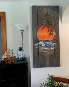 Items similar to Wood Pallet Sign - Ocean Sunset with Palm Tree Painting optional last name on Etsy Arte Pallet, Reclaimed Wood Art, Wood Pallet Signs, Wood Pallets, Wood Wood, Pallet Painting, Painting On Wood, Pallette, Fence Art