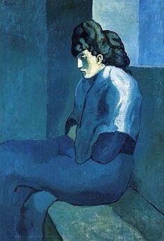 Joseph J Abhar - Femme assise au fichu Picasso Période bleue