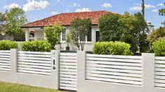 Falling house prices in Sydney and Melbourne: Why we should invest in business i… House Fence Design, Modern Fence Design, Front Gate Design, Brick Fence, Front Fence, House Yard, House Front, Front Door Landscaping, Balustrade Balcon