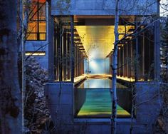 The Aquarium Pool - pool may stop at 25 meters but the view through the glass barrier extends into 13 acres of forest. For added illusion, the ceiling has a stainless steel band, cut to the width of the pool. It captures the water's reflection and gives the effect of submersion whether above or under water. Photo @ Nic Lehoux    Credit: Courtesy of Collins Design