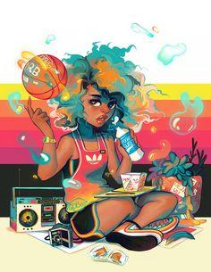 Spaceketball by GDBee Black Love Art, Black Girl Art, Art Girl, Black Girls, Black Women, Arte Gcse, Evvi Art, Arte Black, Black Art Pictures
