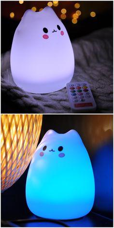 Remote Control Colorful Cat Cartoon USB Silica LED Night Light
