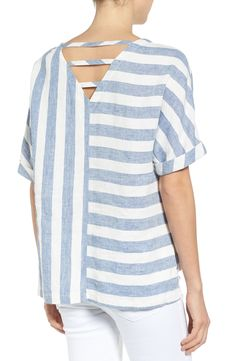 V-back linen top
