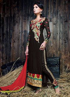 Black Resham Embroidered Straight Pant Suit