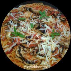 Pasta:Spaghetti Ca' Norma light.Sugo di pomodoro, melanzane grigliate, ricotta salata e basilico. @cynthiacerta♡
