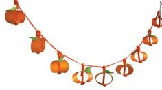 pumpkin garland made from paper towel/toilet paper tubes