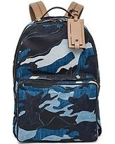 Valentino Leather-Trim Camo Denim Backpack - Blue Camo