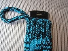 knit gadget cozy - turquoise & black by bshorr on Etsy