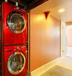 Laundry room in the basement hallway. #LaundryRoom #Designs #Laundry