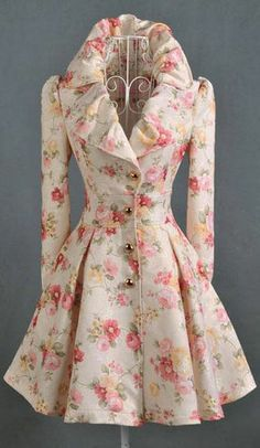 Stylish Turn-Down Collar Single-Breasted Long Sleeve Jacquard Floral Coat Coat Dress, Dress Up, Swing Dress, Pretty Outfits, Cute Outfits, Emo Outfits, Vintage Outfits, Vintage Fashion, Mode Inspiration