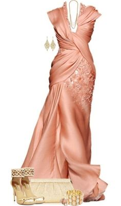 """Goddess in Peach"" by lmm2nd ❤ liked on Polyvore"