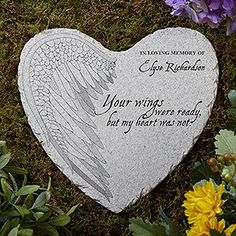 "Remember a loved one with the Your Wings Personalized Memorial Heart Garden Stone. Personalize with 1 line of text, any name and optional message or memorial dates. Design features the phrase ""Your wings were ready, but my heart was not. Personalized Garden Stones, Personalized Gifts, Memorial Garden Stones, Memorial Gardens, Collateral Beauty, Wings Design, Memorial Gifts, Memorial Ideas, Memorial Ornaments"