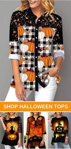 Free Shipping & Easy Return. Liligal pumpkin tops for Halloween down to $USD28, shop now~ #liligal #womensfashion #blouse #tshirt #halloween