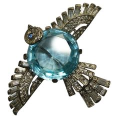 Trifari Sterling Aquamarine Belly Rhinestone Bird Pin Brooch 1940's from Luminous Bijoux on Ruby Lane