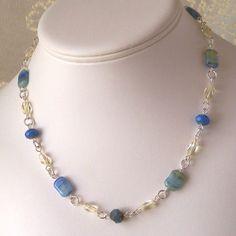 Cornflower Blue Czech Glass Pillow Bead Necklace by mompotter