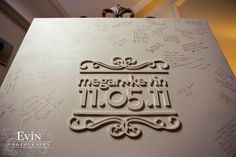 maybe for guest book?!? looks like a canvas + wooden letters/stencil
