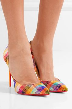 Heel measures approximately 100mm/ 4 inches Multicolored jacquard, copper leather Slip on Made in ItalySmall to size. See Size & Fit notes.