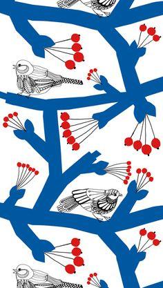 maija louekari birds- Marimekko. I have the tea towel and looking at it.