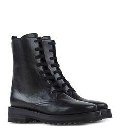 Marni Black Leather Combat Boot