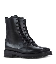 Marni Black Leather Combat Boot