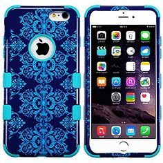 """myLife 2 Layered Protection Hybrid Bumper Case for iPhone 6 Plus (5.5"""" Inch) by Apple { Royal Blue + Teal """"Elegant Vine Design"""" Three Piece SECURE-Fit Rubberized Gel} myLife Brand Products http://www.amazon.com/dp/B00P9NTSOC/ref=cm_sw_r_pi_dp_4a5yub0KCJSC0"""