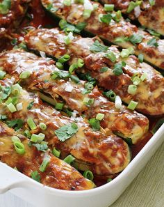 Chicken Enchilada Stuffed Zucchini Boats  - http://paleoaholic.com/paleo-recipe/chicken-enchilada-stuffed-zucchini-boats/