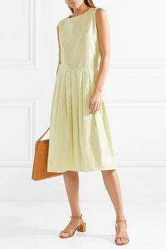 Mansur Gavriel | Pleated silk and cotton-blend midi dress | NET-A-PORTER.COM