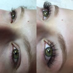 Mink eyelash extensions before and after.