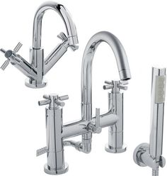 Basin mixer and bath shower mixer tap set in chrome with cross handles, basin waste and free shower kit - inc delivery at Bath Shower Mixer Taps, Bath Taps, Bathroom Taps, Shower Hose, Minimalist Bathroom, Modern Bathroom, Hudson Reed, Shower Kits, Basin Mixer
