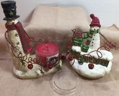 Yankee Candle Snowman Votive Holder & Large Jar Topper & Slatkin 1.3 Oz Candle    | eBay