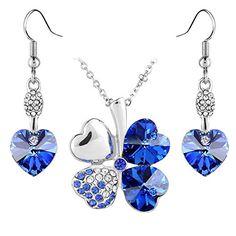 Le Premium® Schmuck-Set Vier Blättern Klee Halskette+ohrring baumeln Herz geformt Swarovski Saphirblau Kristalle