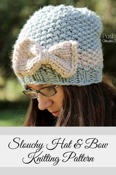 82df0855f61 Knitting PATTERN - Knit Slouchy Hat   Bow Pattern. Posh Patterns