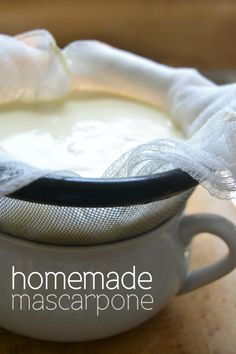 What a great DIY project --- this homemade mascarpone is identical to the pricey store bought stuff --- and it's so luxurious! (Homemade Cheese Making) Cheese Recipes, Cooking Recipes, Fresh Cheese Recipe, Fromage Cheese, Do It Yourself Food, Homemade Cheese, Homemade Butter, How To Make Cheese, Making Cheese