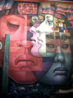 Detalle del mural PRESENCIA DE AMÉRICA LATINA en la República de Chile de Jorge González Camarena