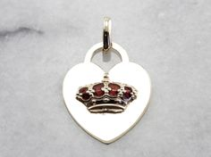 Queen of My Heart, Enameled Crown and Heart Pendant