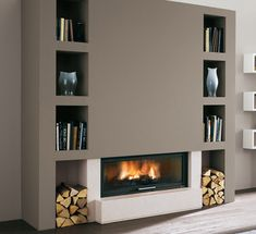 If you are looking to give your room a focal point or something to highlight it, look no further than the fireplace mantel that's already there. Many tend to leave their fireplace mantels bar… Living Room Decor Fireplace, Home Fireplace, Fireplace Design, Home Living Room, Fireplaces, Contemporary Fireplace Mantels, Minimalist Home, New Homes, House Design